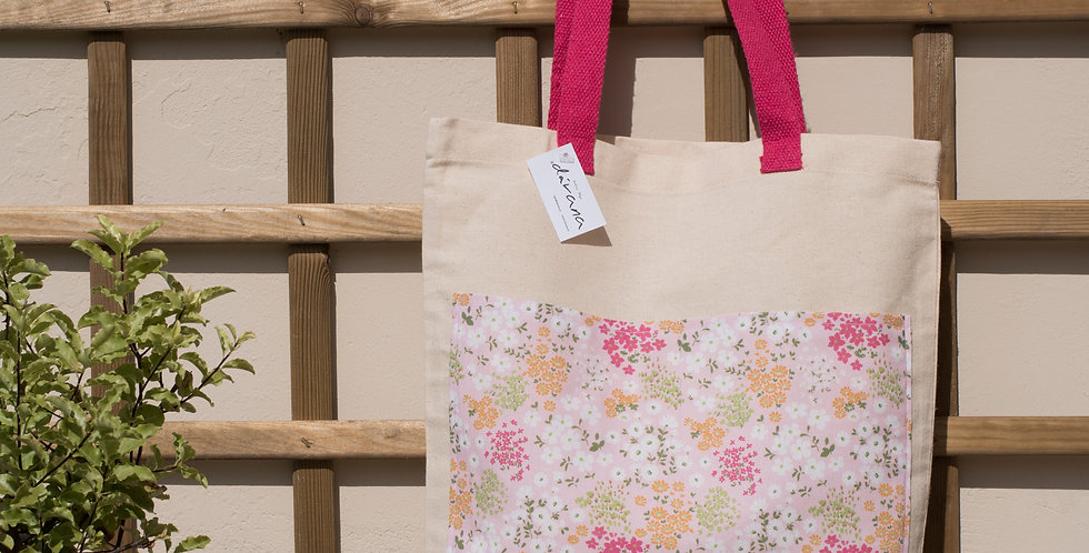 Tote algodón asa rosa bolsillo flores