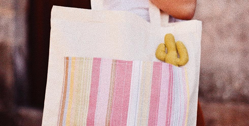 Tote Bag bolsillo Agatha con broche cactus pistacho
