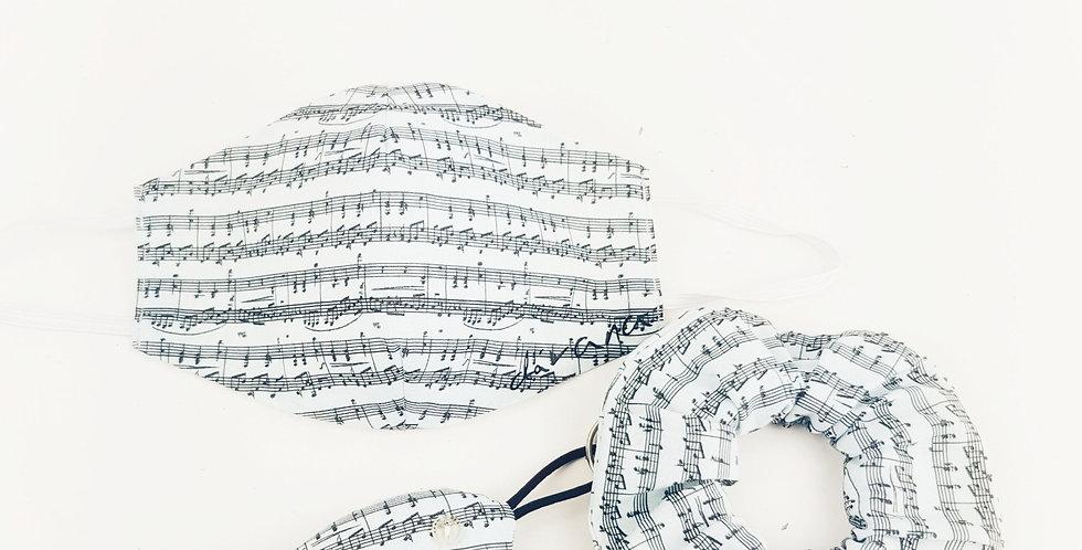 Conjunto mascarilla, llavero y coletero música