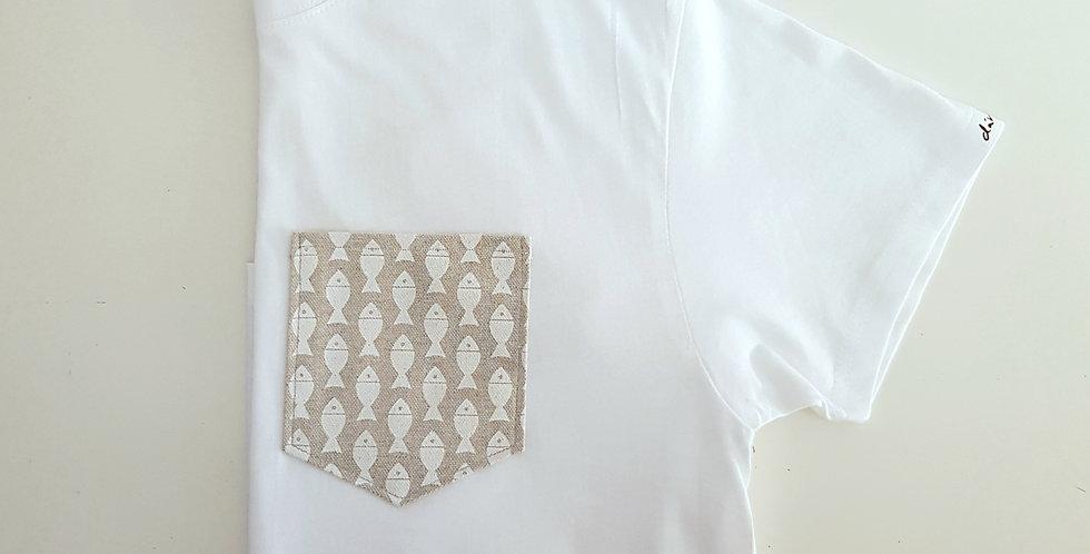 Camiseta peces beige