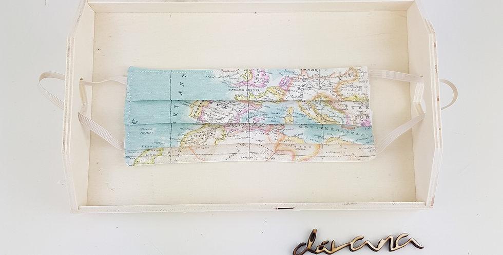 Mascarilla Mapa turquesa pliegues