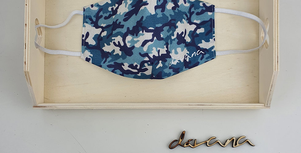 Mascarilla camuflaje azul