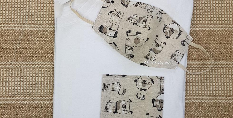 Conjunto camiseta  y mascarilla perros beige