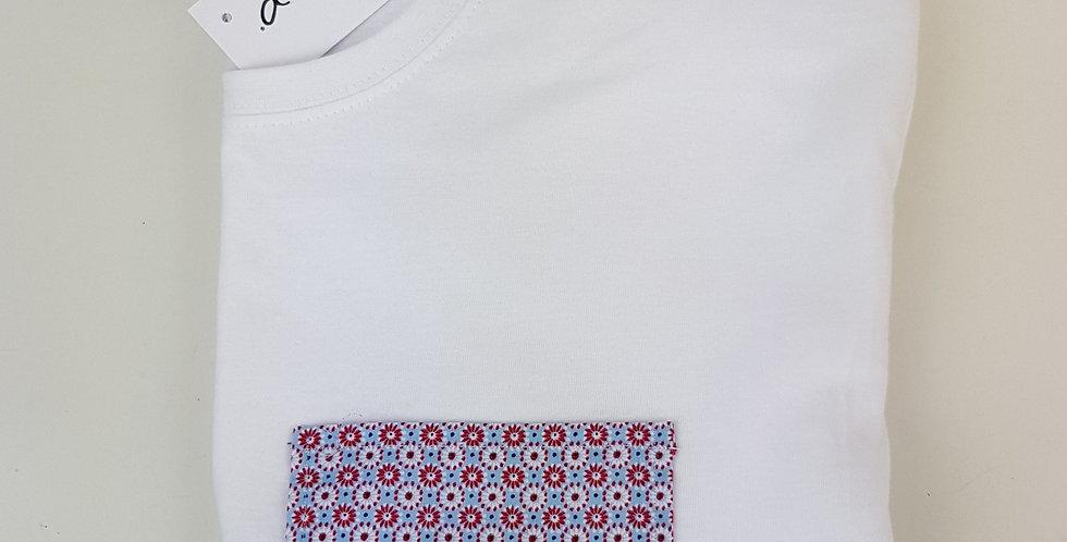 Camiseta bolsillo Flores círculos rojos/blancos