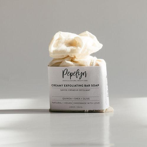 Creamy  Exfoliating Bar soap w/Quinoa+Shea+Olive