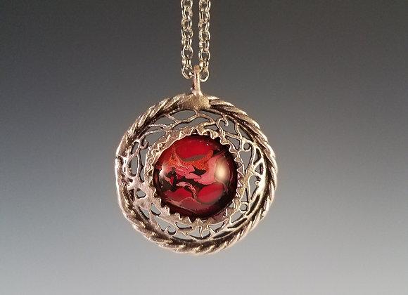 Braided Carmine Marbled Necklace