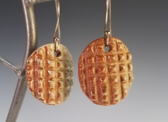 """Ode to Waffle Cone"" Ceramic Earrings"
