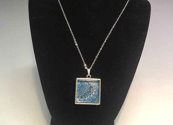 Marbled Paper Square Necklace