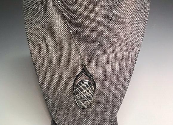 Marbled Paper Black & White Pendant
