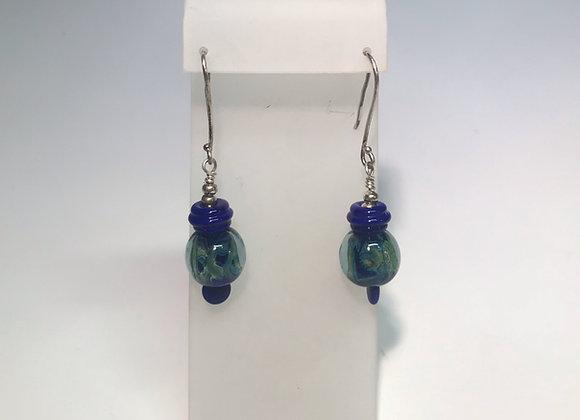 Blue Swirl Lampwork Earrings