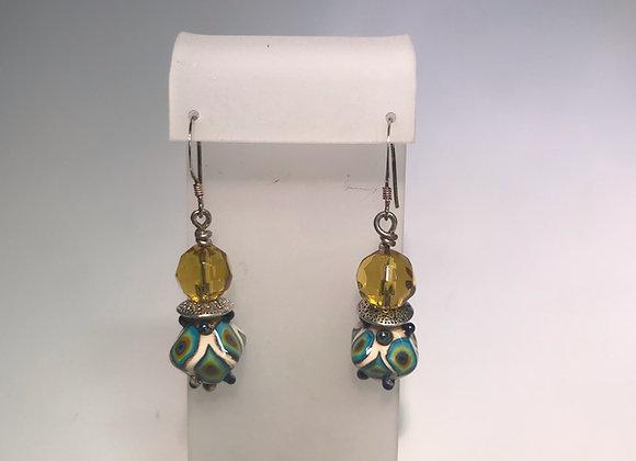 Peacock Lampwork Earrings