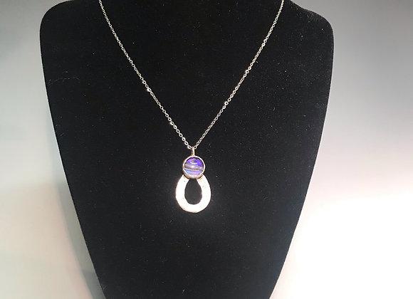 Marbled Paper Purple Pendant