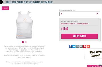 simple logo, white vest top, hashtag bot