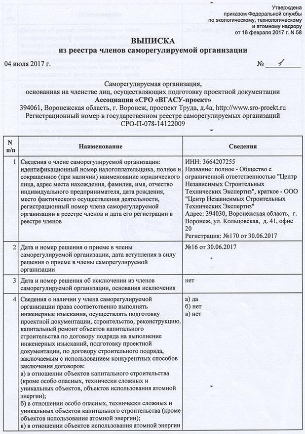 Центр Независимых Строительных Технических Экспертиз г. Воронеж, допуски СРО
