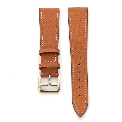 Grained Whiskey calfskin watch strap contrast sewing