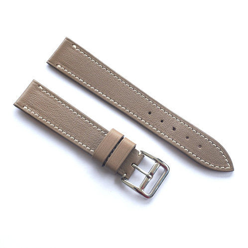 Taupe grey , cream sewing watch strap