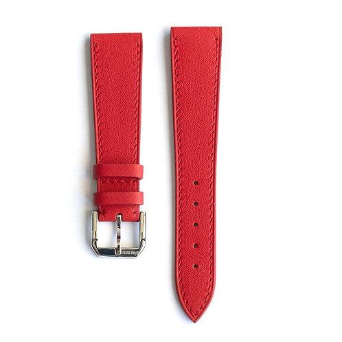 Red calfskin watch strap