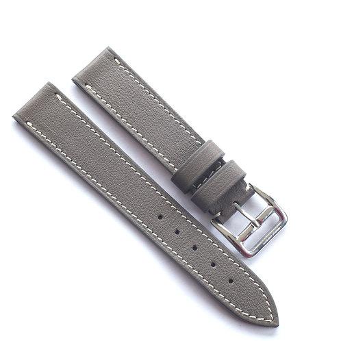 Grey calfskin cream sewing watch strap