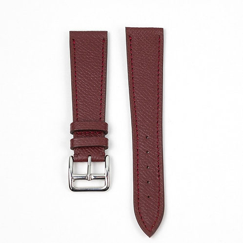 Grained Burgundy calfskin watch strap