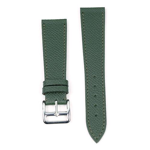 Grained green calfskin watch strap