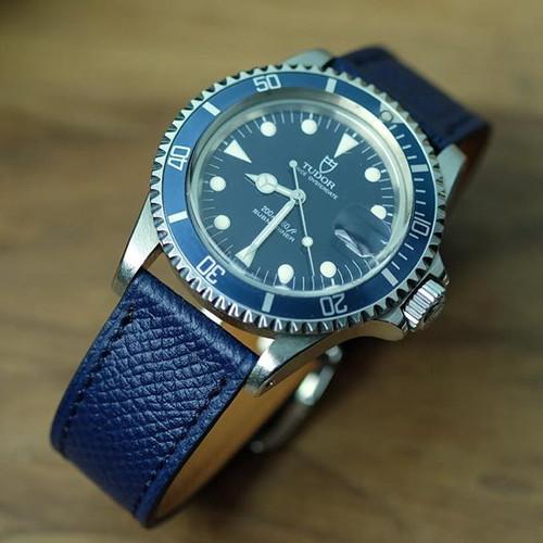 Grained blue calfskin #watchstrap _On #T