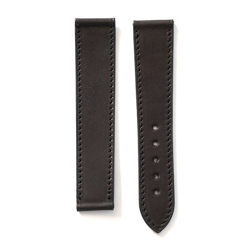 Watch strap smooth black leather