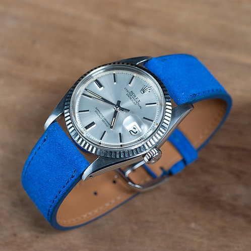 Electric blue Suede  watch strap
