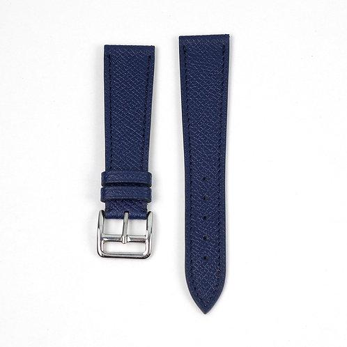 Grained blue roy calfskin watch strap
