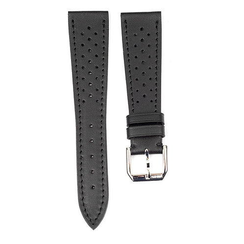 Racing strap small hole Black smooth leather