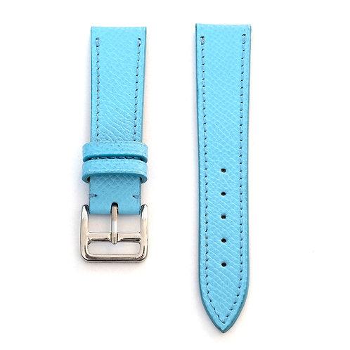 Grained azur blue calfskin watch strap