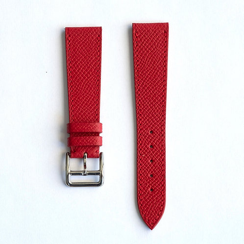 Grained red calfskin watch strap