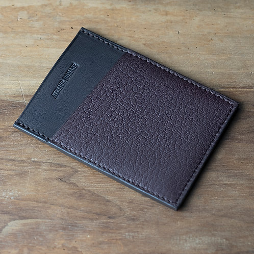 Minimalist cards holder chocolat grained leather