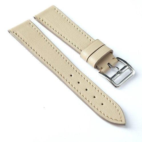 Beige calfskin watch strap