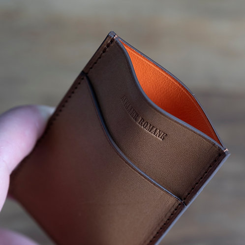 Minimalist cards holder Tan barenia / orange