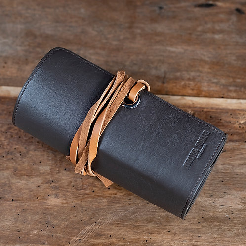 Leather Watch roll for 5 watches brown