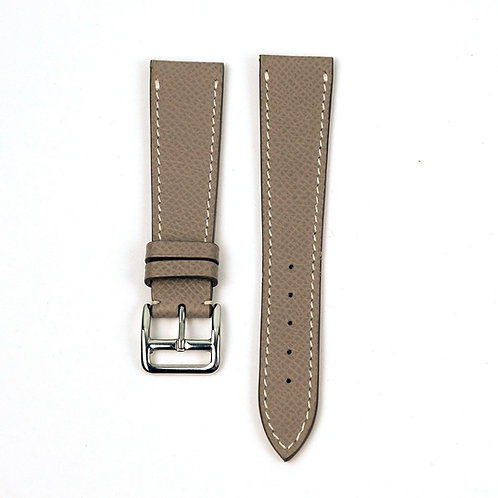 Grained taupe  calfskin watch strap creme sewing