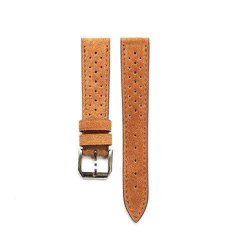 Suede calfkin Brown racing watch strap