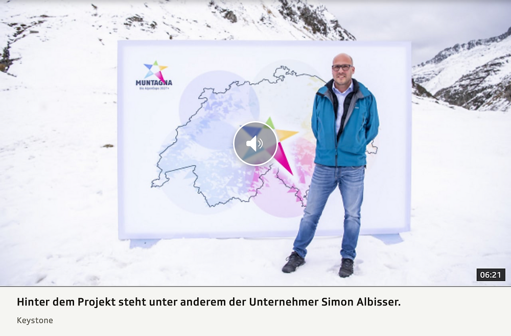 Bildschirmaufnahme von Play SRF mit Simon Albisser, Präsident Förderverein Muntagna. Betrifft die SRF Sendung *Regional Diagonal* vom 8. Oktober 2020.
