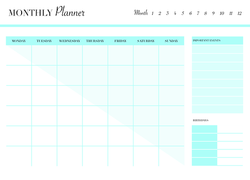 UNDATED MONTHLY Planner Turquoise