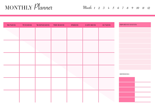 UNDATED MONTHLY Planner Blush