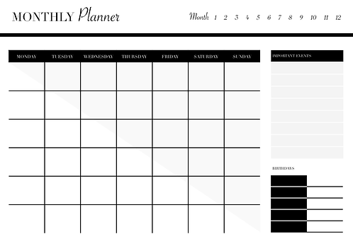 UNDATED MONTHLY Planner Noir