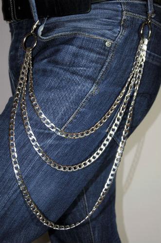 Lanț pentru pantaloni triplu, cu 2 carabine metalice