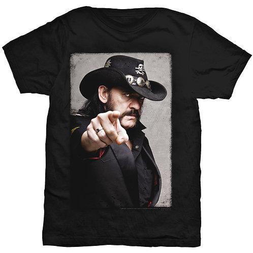Lemmy- Pointing Photo - imprimeu față/spate (tricou unisex)