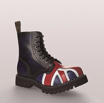 Bocanci rock STEEL 8 inele (British Flag