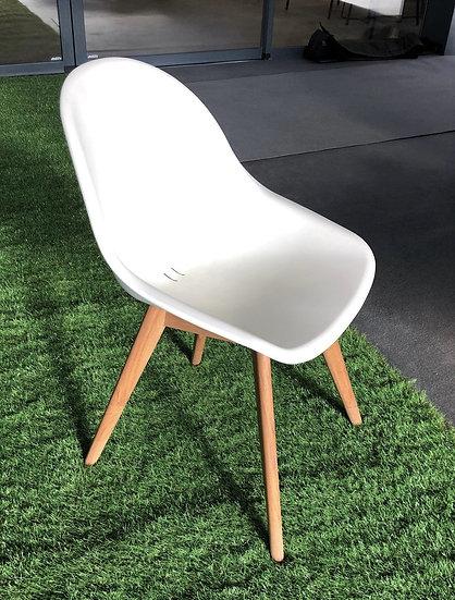 STOCKOLM - chaise blanche et teak / lot de 6 pièces
