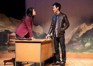 Rosie Simon and Jonathan Tan in COWBOY VERSUS SAMURAI, Soulpepper Theatre 2016