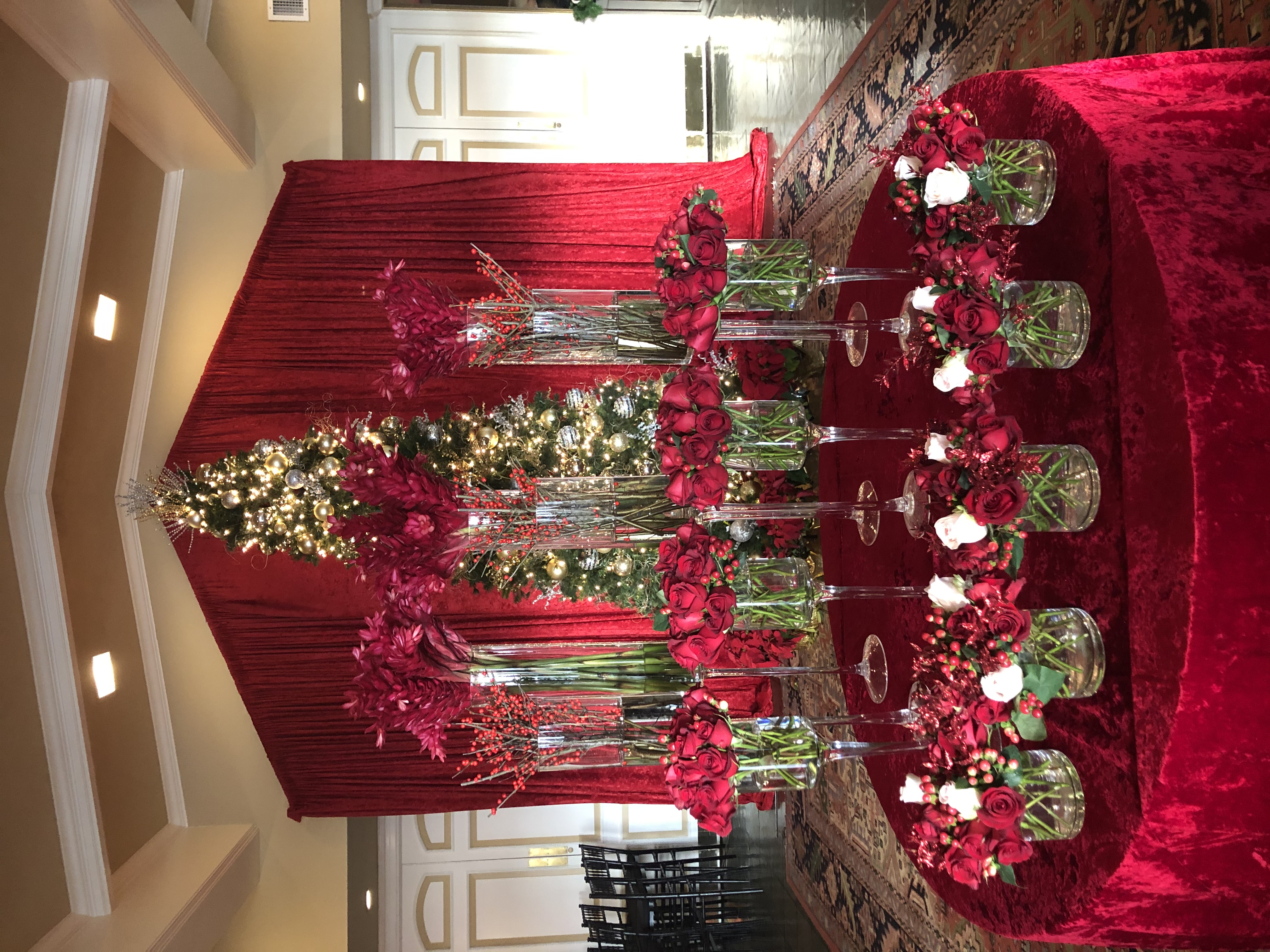 Country Club Black Tie Floral Entrance