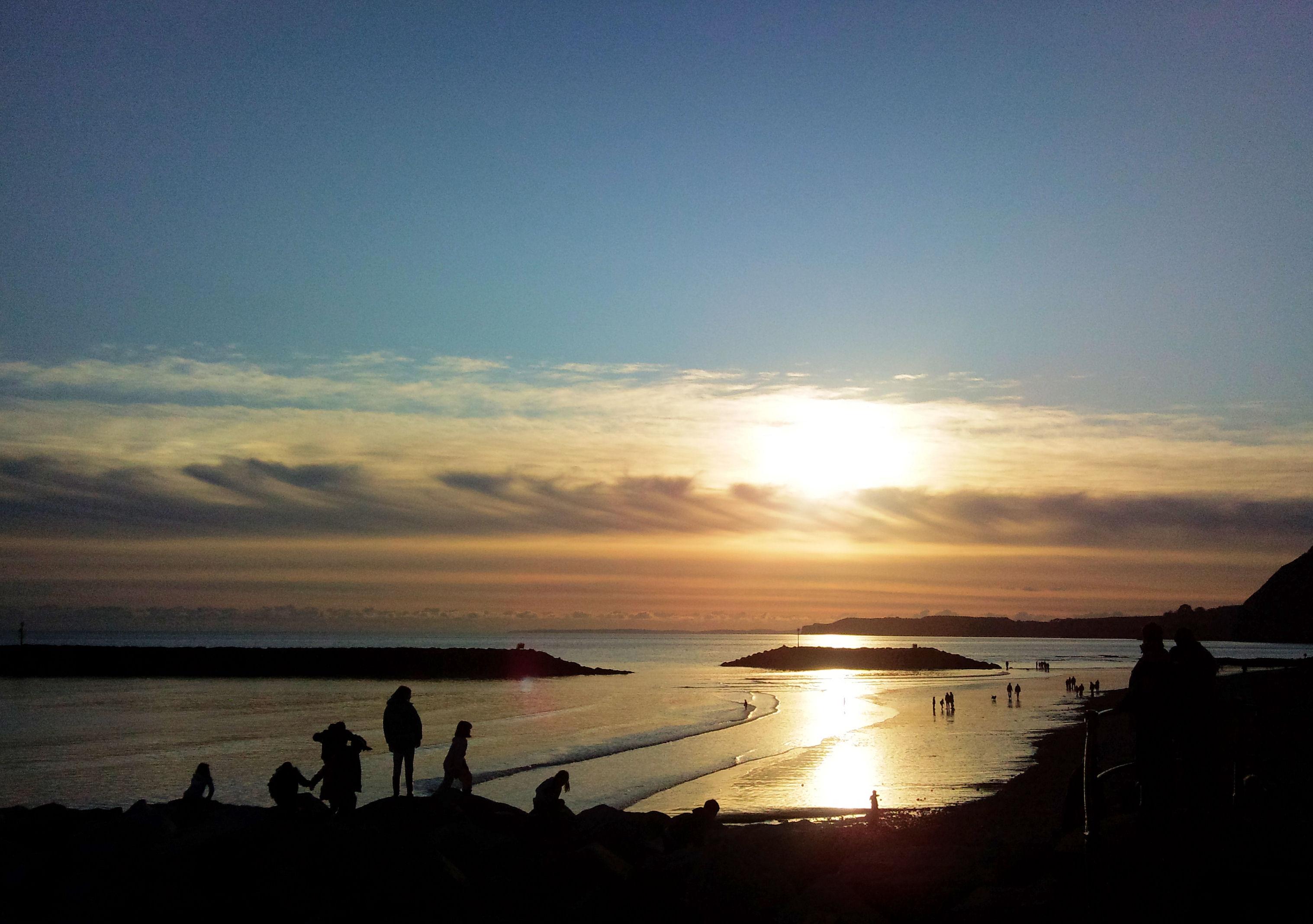Sidmouth beach sunset