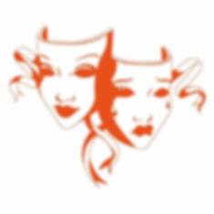 drama mask logo, orange and white, digital drawing by Sarah Starr