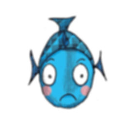 Fred the Funny Fish illustration with digital embellishment and colour by Sarah Starr